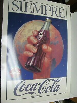 Coca-Cola Coke Bottle Siempre Always Earth Logo Advertising Plastic Coated Sign