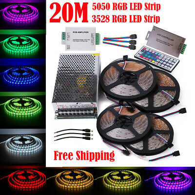 20M SMD RGB 5050 3528 300 LED Strip Lights Tape +44Key Remote +12V Power Adapter