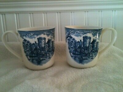 Pair of Johnson Bros Old Britain Castle Blue coffee Tea Cup Mugs Lot of 2