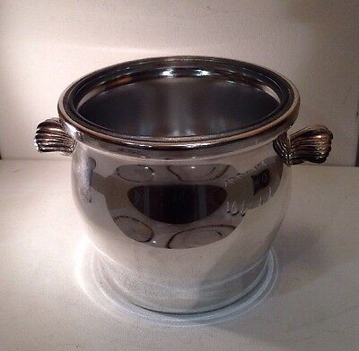 """Silverplate Ice Bucket With Glass Liner WM Rogers # 27 6"""" Tall 7"""" Diameter 3.2LB"""