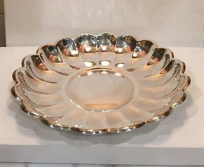 "Silverplate Round Bowl Plate Server Read & Barton # 109 13"" Diameter 1 1/2"" Tall"