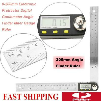 200mm Digital Angle Finder Ruler Protractor Goniometer Stainless Steel 0-360°