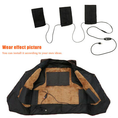 3  USB Electric Heating Pads Thermal Vest Clothes Heated Mobile Warming