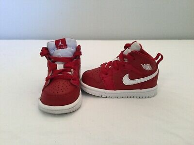 0a385034a12a NIKE AIR JORDAN 1 Mid Infant Toddler Boys Red white Shoes~size 4 C ...