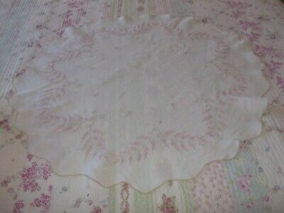 Vintage Linen Embroidered Tablecloth White Pink SALE