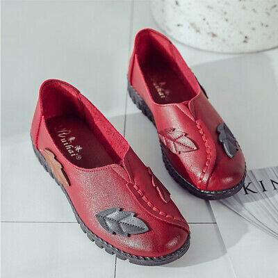Women's Comfort Soft Slip On Casual Shoes Round Toe Flat Leather Pumps Shoes
