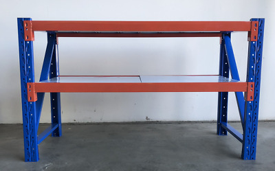 2M Length Work Bench Shelvings Workshop Steel Garage Workbench Racks Workbenches