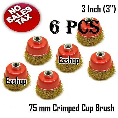 "6 PC 3"" Wire Brush Steel Crimp Cup Angle Grinder M14 Rust Paint Removal Ezshop"
