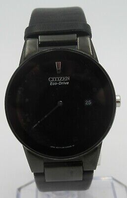 Citizen Eco Drive AU1065-07E Mens Axiom Black Leather Date Black Dial 40mm Watch
