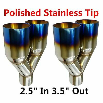 "2X 2.5"" In 3.5"" Out Blue Burnt Dual Layer Straight Cut Polished Exhaust Tip"