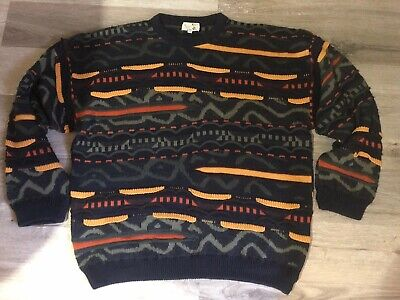 Vintage Knit Jumper Knitted Wool Mens Size XL Retro Old School Hipster Hip Hop