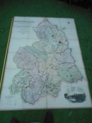 100% Originalvery  Large Scale Northumberland  Map By Greenwood C1824