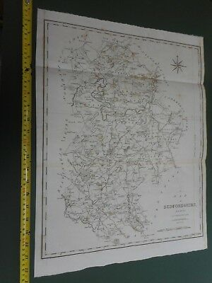 100% Original Large Bedfordshire Map By Cary/Stockdale C1805 Vgc Luton