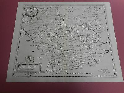 100% Original Large Leicestershire  Map By Robert Morden C1722 Low Post