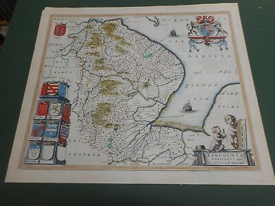 100% Original Large Lincolnshire Map By J Blaeu C1646 Hand Coloured