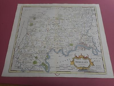 100% Original Large Middlesex Map By Robert Morden C1722 Hand Coloured
