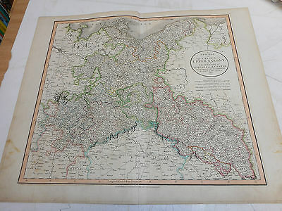 100% Original Large Upper Saxony Map By John Cary C1801 Vgc Original Colour