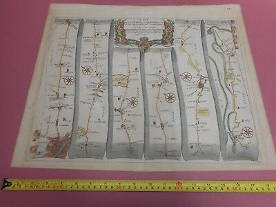 100% Original Large London To Harwich Road Map By John Ogilby C1679 Colchester
