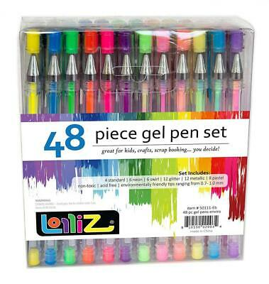 LolliZ Lot de 48 Stylos Billes à Encre Gel Multicolores
