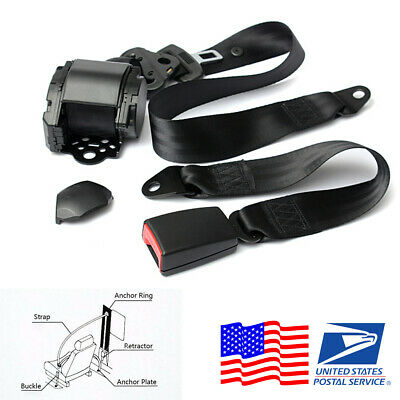 Universal 3 Point Automatic Retractable Car Safety Seat Belt Lap and Buckle -USA