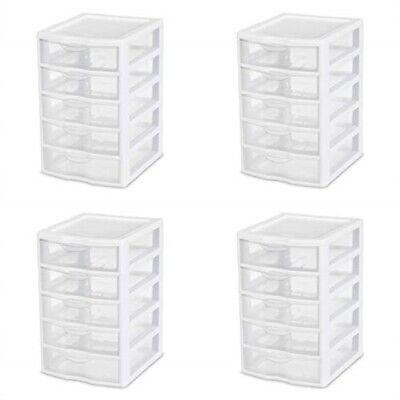 Sterilite 20758004 Small 5 Drawer Unit White Frame With Clear