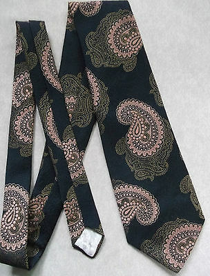 Vintage Tie Mens Wide Necktie Retro Fashion 1970s SHIMMERY NAVY GOLD PAISLEY