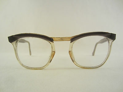 LUX DOUBLE OR BRILLE BRILLENGESTELL VINTAGE 50's FRAME GOLD GRAU 1950'er FIFTIES