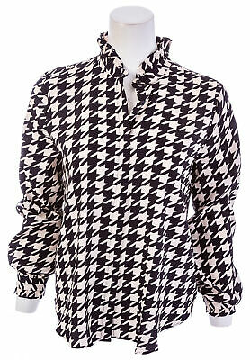 6f2ca1fa4 ANN TAYLOR HOUNDSTOOTH Ruffle Button Down Blouse - $12.99 | PicClick