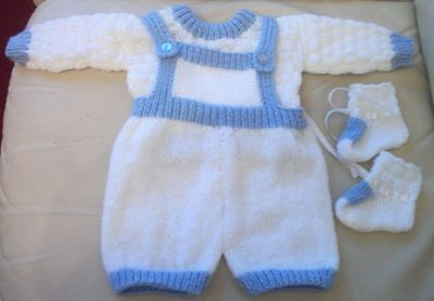 Hand Knitted Baby Romper Suit White & Blue