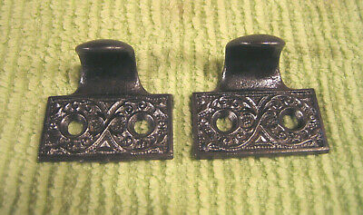 Pair Antique Victorian Cast Iron Mortise Door Lock Key Hole Plates Escutcheons
