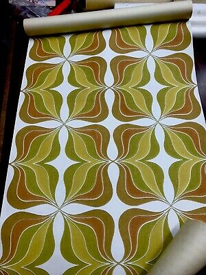 Vintage 60 70s Psychedelic Flower Power Wallpaper Roll Mid Century W. Germany.
