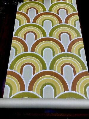 Vintage 60 70s Rainbow Power Wallpaper Roll Mid Century House Woodstock