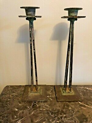 Antique Cast Iron Distressed Candlestick Pair Of 2 Matching Tall - 13""