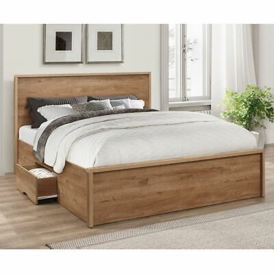 Stockwell Oak Wooden 2 Drawer Storage Bed with Size and 4 Mattress Options