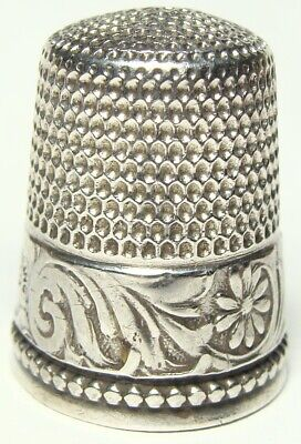 Antique Sterling Silver Thimble ENGRAVED FLORAL BAND Simons Bros 4g