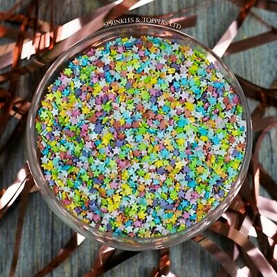 Stunning Mini Glimmer Rainbow Stars Sprinkles Cupcake / Cake Decorations