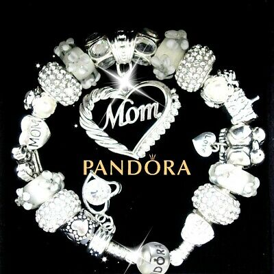 Authentic Pandora Bracelet Silver MOM MOTHER White Family with European Charms