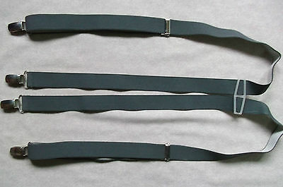 Braces Suspenders Mens Vintage CLIP ON 1970s SKA PUNKRETRO SLATE GREY