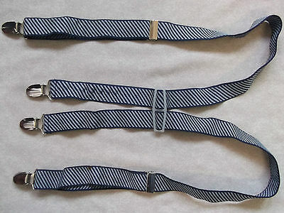 Braces Suspenders Mens Vintage CLIP ON 1970s SKA PUNK NAVY & WHITE STRIPED