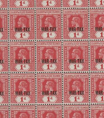 Gilbert and Ellice 1918 1d Red War Tax in complete pane of 60 SG 26 Mnh.