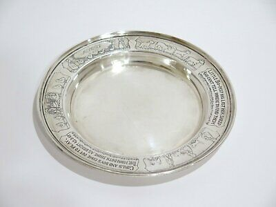 6.25 in - Sterling Silver Wilcox & Wagoner Antique Nursery Rhymes Baby Plate