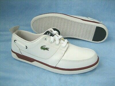 16d255f73 LACOSTE TOPA Leather Casual Deck BOAT SHOES SNEAKERS~Mens Sz 10~White~GATOR
