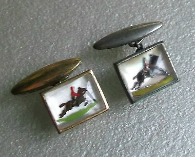 Cufflinks Vintage Mens Cuff Links 1950s 1960s HORSE SHOWJUMPING
