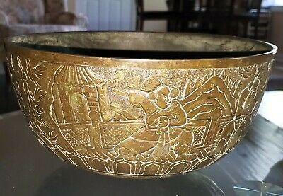 Antique 17Th - 18Th Century Xuande Period Chinese Warrior Bronze Large Bowl