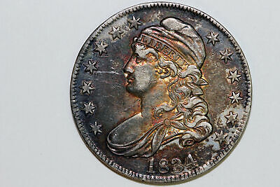 One Rainbow Toned 1834 Capped Bust Half Dollar Grades Extra Fine (Bst50-336)