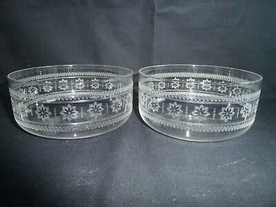 Beautiful Pair of Edwardian Etched Glass Finger Bowls