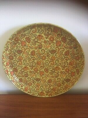 1960's Vienna Woods Style Orange/Gold Paisley Floral Pattern Tin Tray - Retro