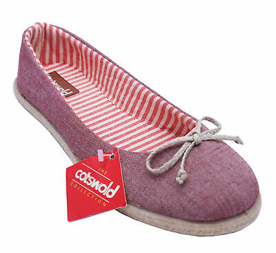 Womens Cotswold Aylwort Red Flat Canvas Slip-On Flat Ballet Pumps Shoes Uk 3-7