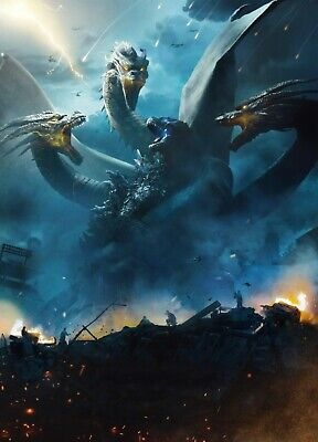 "Godzilla King of the Monsters Poster Movie 2019 Film Print 24x36"" 27x40"" 32x48"""