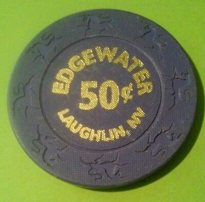 Edgewater Casino Laughlin, Nevada Purple .50 Cent Chip Great For Any Collection!